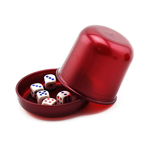 Dice Cup with 5 White Dices Shaking Cup Drinking Games Dices Set KTV Pub Casino Party Game Toy ()