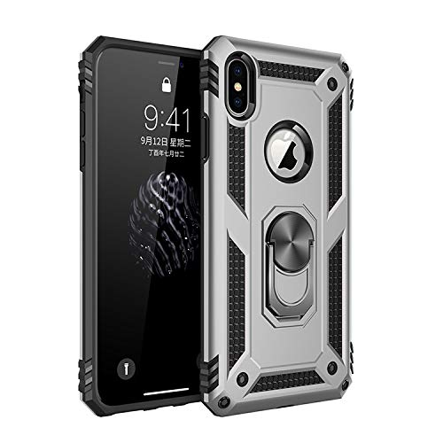 Korecase Compatible with iPhone X iPhone Xs Case, Extreme Protection Military Armor Dual Layer Protective Cover with 360 Degree Swivel Ring Kickstand Silver