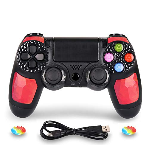 PS4 Controller DualShock 4 Wireless Controller for Playstation 4 - OUBANG PS4 Remote Control with Charging Cable,Best PS4 Game Joystick Gift for Christmas,Brithday (Ruby) (2 Magna Playstation)