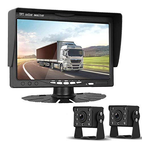 "HD 720P Dual Backup Cameras and 7"" Monitor System Kit for Bus/Trucks/Trailer/RVs/Campers Night Vision IP68 Waterpoof with ON/Off Switch Guide Lines Normal/Mirrored Pictures Optional"