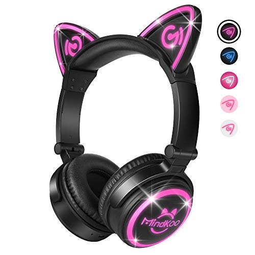 MindKoo Wireless Headphones Bluetooth LED Light Up Cat Ear Over Ear/On Ear Safe Foldable Headset Stero with Microphone for iPhone/iPad/Smartphones/Laptop/PC/TV Kids Teenager Boys Girls Adults (Apple Jack Rug)