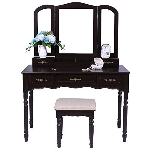 (BEWISHOME Vanity Set with Large Tri-folding Mirror & Cushioned Stool Vanity Desk Dressing Makeup Table 5 Drawers 2 Dividers Desk Organizer Brown FST03N)