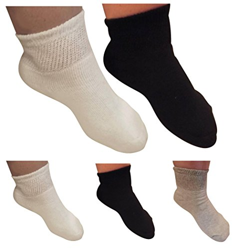 AHG Diabetic White Ankle Socks Cotton Blend 6 Pair Women's Men's Sizes 10-13