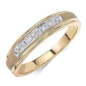 Ladies Wedding Band Diamond .070 CTW Round I color SI1 clarity 10k Yellow Gold Trio Ring MADE IN THE USA