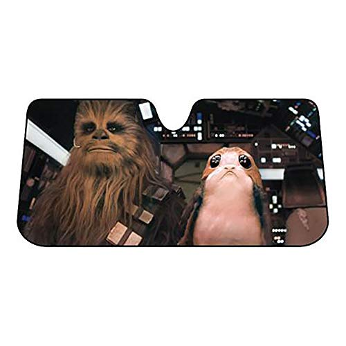 Plasticolor 003848R01 Star Wars Chewbacca Chewie and PORG Accordion Sunshade for Your Auto Car Truck SUV Vehicle - Universal Fit Sunshade (Plasticolor Accordion Sunshade)