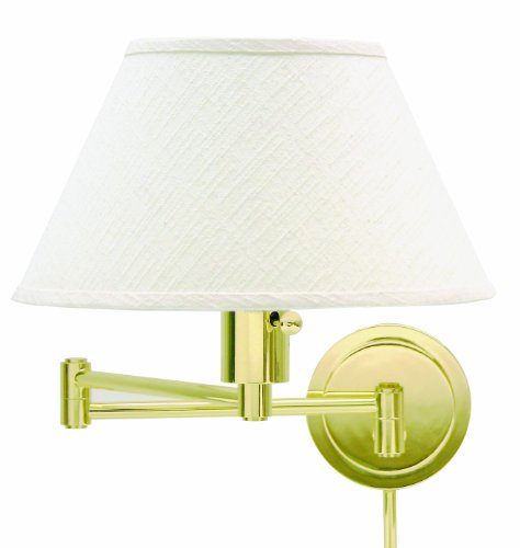 House Of Troy WS14-61 Home/Office Collection Swing-Arm Wall Lamp, Polished Brass with Off-White Linen Hardback Shade