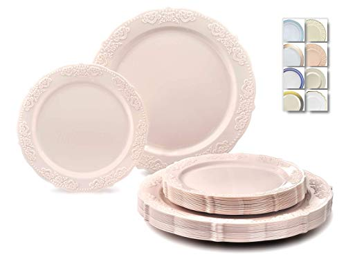 """ OCCASIONS"" 240 Plates Pack,(120 Guests) Vintage Wedding Party Disposable Plastic Plates -120 x 10.25"