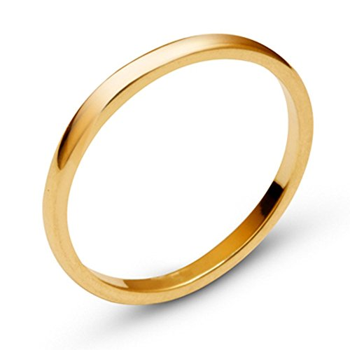 14k Yellow Solid Gold 2mm Comfort Fit Domed Plain Men's Women's Wedding Band Size 7