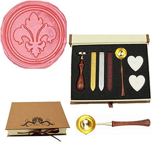 MNYR Vintage Fleur-de-lis Sealing Wax Seal Stamp Wood Handle Melting Spoon Wax Stick Candle Gift Book Box kit Wedding Invitation Embellishment Holiday Card Christmas Gift Wrap Package Seal Stamp Set
