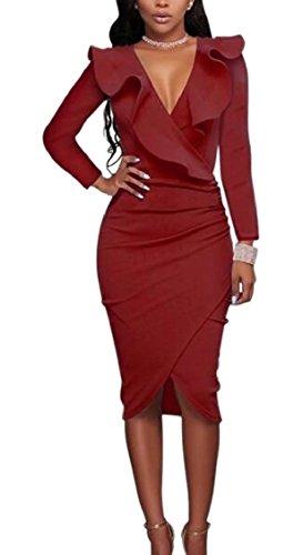 V Jaycargogo Vino Cocktail Womens Maniche Da Aderente Vestito Rosso A Sexy Collo Lunghe Ruffle xxgPqw