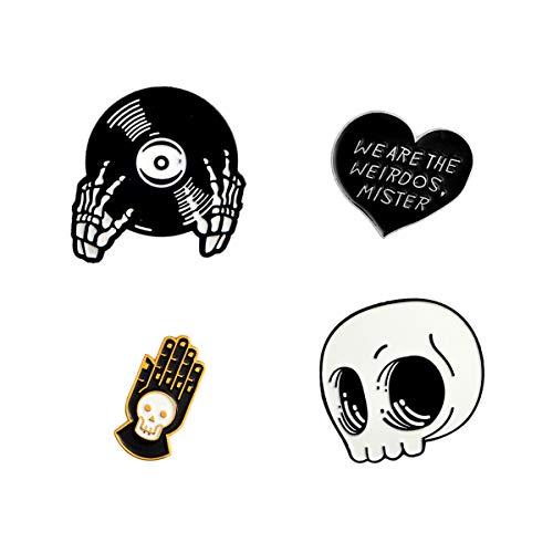 WINZIK Lapel Pins Set Novelty Cute Cartoon Brooch Badges for Children Adults Clothes Backpacks Decor (Skull Hands Pins Set of 4)