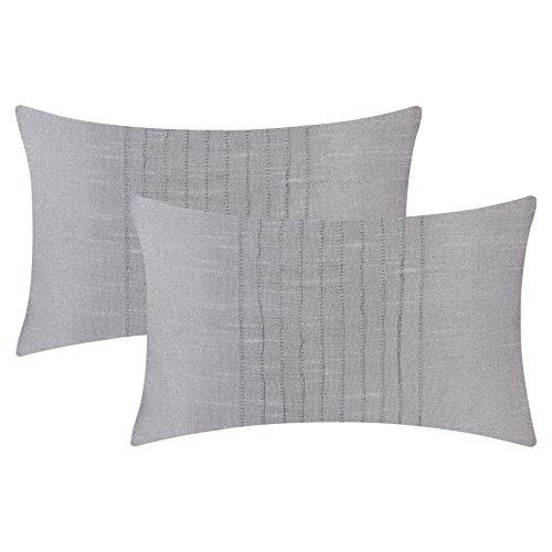 The White Petals Set of 2 Silver Grey Lumbar Pillow Cover with Pin Tucks Panel (12X18 inches, Silver Grey) (Pillow Lumbar Silver)