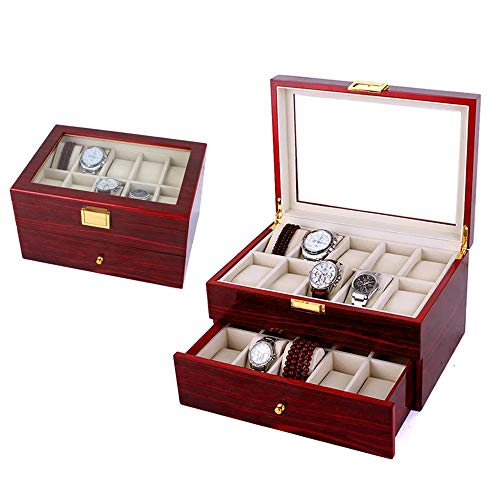 iHotools Wooden Watch Box/Watch Organizer – 20 Slot Luxury Cherry Wood Design Display Box/Case, Large Holder, Metal Buckle