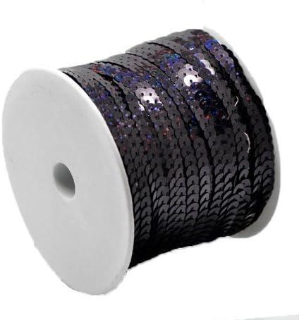 2//8 Approx 75 Yards Rockin Beads Brand 1 Roll Sequins Trim Spool String Flat Bling Black Ab 6mm Dia