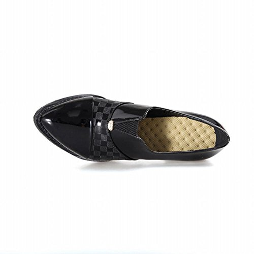 Latasa Donna Moda Scarpe A Punta Tacco Medio Grosso Slip On Nero