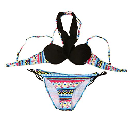 Sexy Bikini Set JUNNEY Swimwear Padded Bra Beachwear Women Summer Swimsuit (2XL)