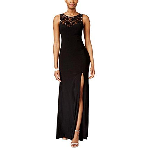 X by Xscape Womens Lace Back Slit Evening Dress Black 6