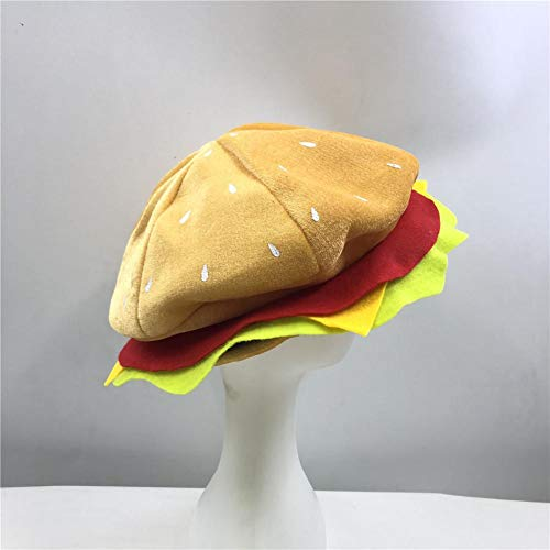 Cheeseburger Hat Headwear - Burger Food Hat Halloween Christmas Costume Party Dress Up Props Hat for Kids Adults