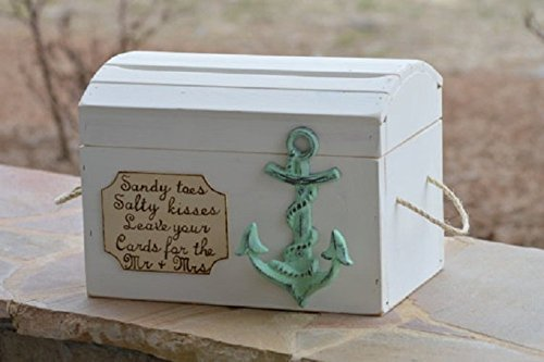 beach card box anchor theme nautical wedding reception card holder