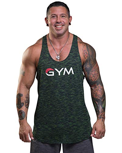 cded7f4853bb90 Men s Gym Stringer Tank Top Bodybuilding Athletic Workout Muscle Fitness  Vest (X-Large