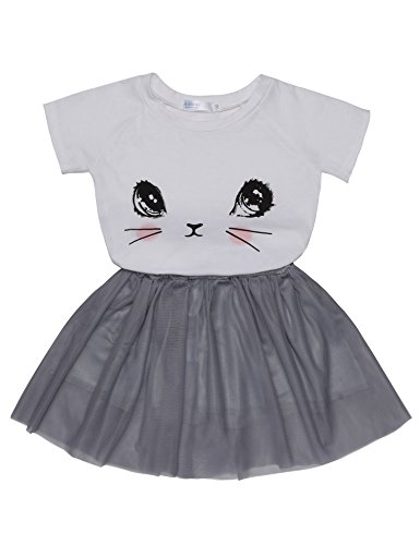 Arshiner Toddler Baby Kids Girls Summer Clothes Set Cartoon Cat Top T-Shirt + Tutu Skirts Dress (Cat Tutu)