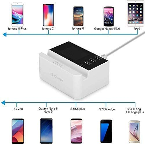 USB Charging Station,Mibor USB Wall Charger for iPhone X// 8//7 // 6s // Plus LG Nexus HTC and More iPad Pro//Air 2 // Mini//iPod Note 5//4 Galaxy S7 // S6 // Edge//Plus