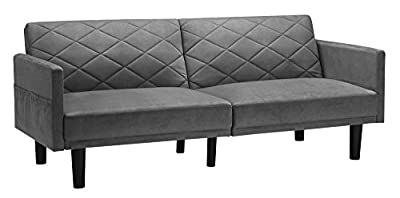 Cortland Futon Sofa Sleeper Bed, Convertible Couch, with Storage Pockets in Premium Microfiber