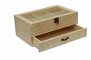 takestop Caja de madera Joyero vitrina 6 compartimentos 1 cajón Decoupage Estuche minuterie PORTAGIOIE GIOIE Infusiones TE