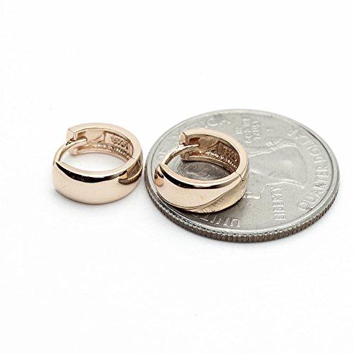14k Rose Gold Vermeil over Sterling Silver 925 Huggie Hoop Earring 4mm ()