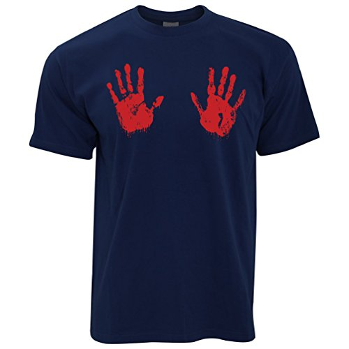 Tim And Ted Halloween T Shirt Scary Bloodied Hand Prints Navy Blue XXXL]()