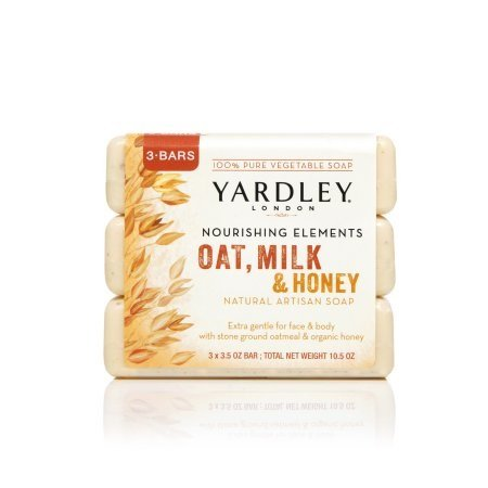 shing Elements Oat, Milk, and Honey Natural Artisan Soap, 3 Bars x 3.5oz each. Per Pack (4 Pack) (Yardley London Natural Soap)