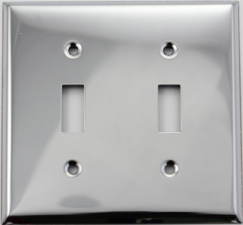 Polished Chrome Two Gang Toggle Switch Wall (Chrome Toggle Wall Plate)