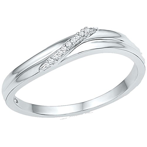 10kt White Gold Band Style Ring Womens Diamond Simple Single Row .03 Cttw by IdealCutGems-JSS