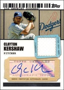 2009 Topps Ticket to Stardom Relics #TSAR-CK Clayton Kershaw Certified Autograph Game Worn Jersey Baseball Card - Only 489 made! (Topps Ticket 2009)