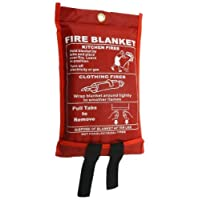Fire Blanket , Large , Quick Unfolding with Loops , 1 x 1 m by REAL ACCESSORIES® IDEAL FOR KITCHEN, OFFICE, HOME, GARAGE, CARAVAN ETC