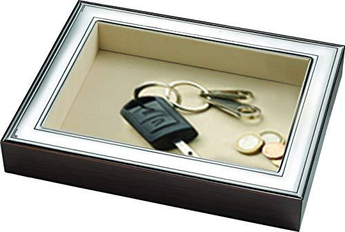 Sterling Silver Flat Organizer, Coin Tray, Valet Key Organizer, Dresser Organizer. Made in Italy (Plain)