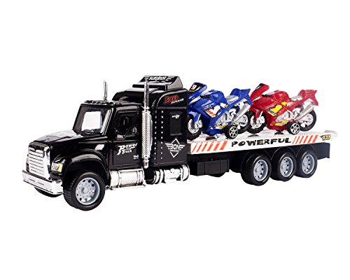 Transporter Truck – Children's Friction Toy Transporter Truck Ready To Run – Extreme Motobike Transporter Semi Trailer Friction Toy Truck Ready To Run W/ 4 Extra Toy Motorbikes (Colors May Vary)