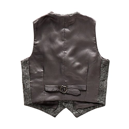 Boys' Girls' Top Design Casual Waistcoat Pockets Buttons V Collar Vests Grey Size 4T by Coodebear (Image #1)
