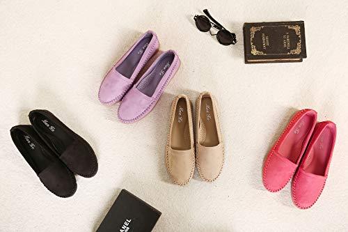 Flâneurs Morbuy Des Taille Confort Loafers Conduite Flats Chaussures Violet Femmes Bateau 40 Daim Casual De Mocassin 35 Grande Y1Yqrw