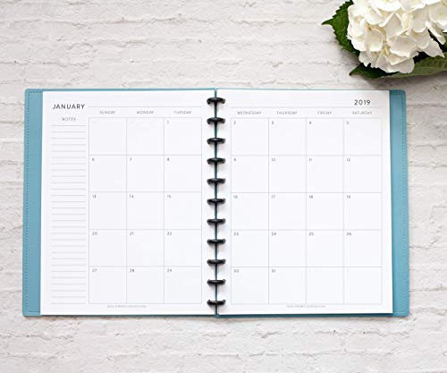 2019 Monthly Calendar for Disc-Bound Planners, Fits 11-Disc Circa Letter, Arc by Staples, TUL by Office Depot, Letter Size 8.5''x11'' Classic (Notebook Not Included) by Natalie Rebecca Design