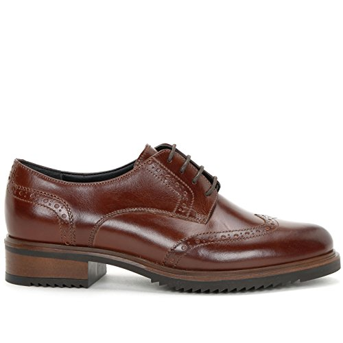 MARINA SEVAL by Scarpe&Scarpe - Zapatos con cordones con cola de golondrina, Zapatos Planos, de Piel Marrón