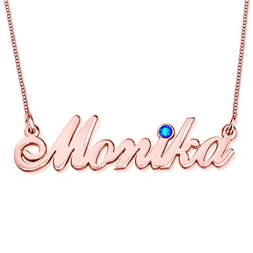 (HACOOL Personalized 925 Sterling Silver Birthstone Name Necklaces Pendants Custom Made with Any Names (Rose Gold))