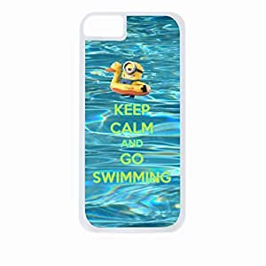 Keep Calm and Go Swimming- Hard White Plastic Snap - On Case-Apple Iphone 6 Only - Great Quality!