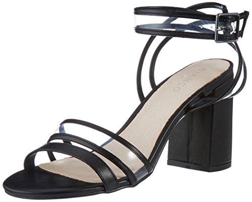 Aperti Bianco Nero Trasparenti Caviglia Cinghia Sandali Donne Scarpa nero 10 Delle Della 8qx5z