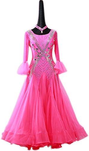garudaぴったり似合うサイズオーダー品 女性社交ダンス 高級品 発表会ワンピース ピンク ピンク サイズオーダー