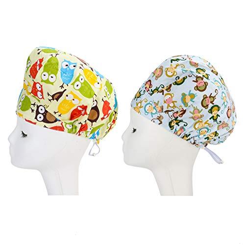 JETEHO 2 Pack Doctor Scrub Cap,Adjustable Bouffant Flower Print Hat for Women Ponytail (Owl,Monkey)