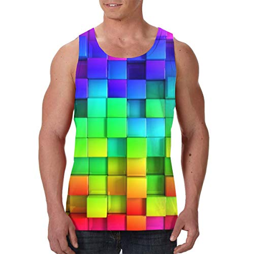 Colorful 3D Cub Art Men's Tank Top Sleeveless Shirts Everyday Wear Black
