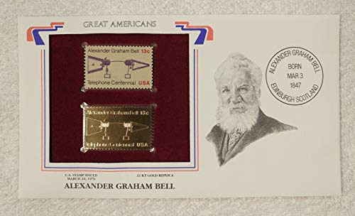 Alexander Graham Bell - Great Americans - Postage Stamp (1976) & 22kt Gold Replica Stamp plus Info Card - Postal Commemorative Society, 2001 - Inventor of the Telephone, Communications, Teacher of the Deaf