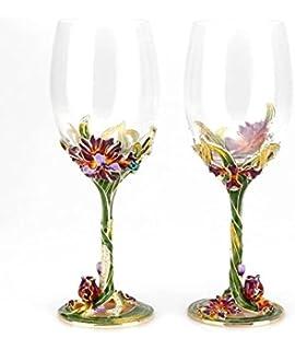 Amazoncom Bestbling Pewter Decorative Crystal Wine Glass Enamel