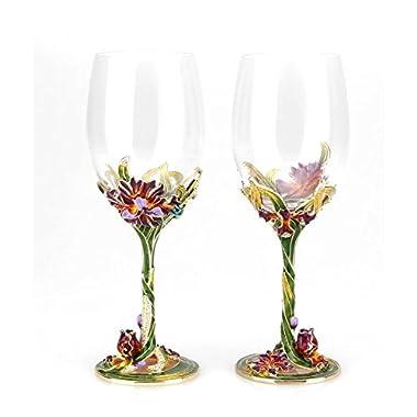 Bestbling Dragonfly Enamel Handcraft Artisan Painted Wine Glass Gift, Set of 2